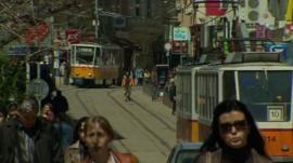 People walking down the street in Sofia