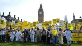 Beekeepers and demonstrators march on Parliament