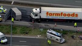 The scene of the crash on the M62