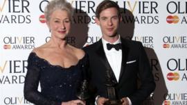 Dame Helen Mirren with her Best Actress award and Luke Treadaway with his Best Actor award