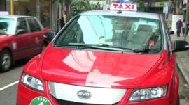 One of Hong Kong's new electric taxis