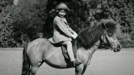 The Queen on her first horse.