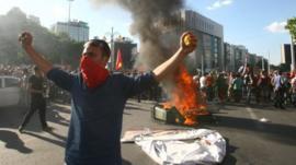 A protester in Turkey