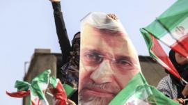 A supporter of Iranian presidential candidate Saeed Jalili