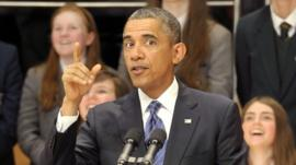 Barack Obama addresses the Waterfront Hall before heading to G8 summit
