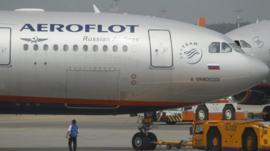 An Aeroflot plane heading to Havana at Moscow's Sheremetyevo airport
