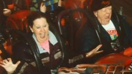 Dennis and Sylvia on a rollercoaster