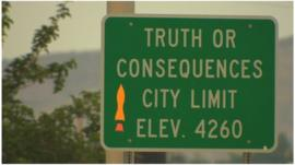 City limit sign for Truth or Consequences