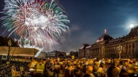 Fireworks illuminate the sky over the Royal Palace in Brussels