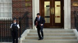 Press Secretary Ed Perkins on steps of St Mary's hospital