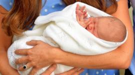 Duchess of Cambridge holds baby son