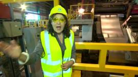 Sarah Dickins at Llanwern steelworks in Newport