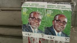 Zanu-PF Campaign posters in Harare, Zimbabwe