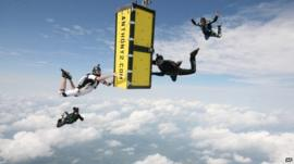 Anthony Martin carries out his skydive stunt