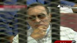 Hosni Mubarak in court, as shown on Egyptian television