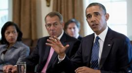 Barack Obama speaks to the media in the Cabinet Room of the White House in Washington