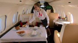 Cabin crew in private jet