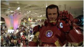 Man dressed up in homemade Iron Man costume