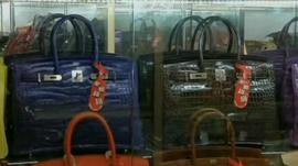 Designer handbags in a Hong Kong shop