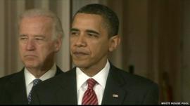 President Obama addressing the White House