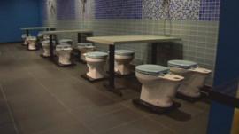 Toilet seats in the restaurant