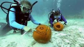 Scuba divers carving pumpkins