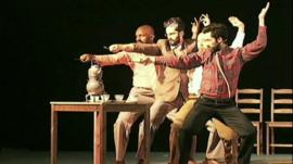 A scene from Theatre Movement Bazaar's production of Uncle Vanya