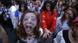 People dressed as zombies in Tokyo