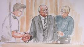 Court sketch of Stuart Hall