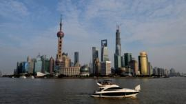 View of the skyline of the Pudong financial district in Shanghai