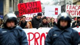 Gay rights protesters in Zagreb. 30 Nov 2013