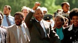 Nelson Mandela released from prison on 11 February 1990