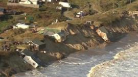 Damaged homes along the coast