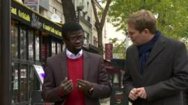 The BBC's Christian Fraser talks to Fulbert, a refugee from the Central African Republic who now lives in Paris
