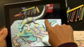 A lizard appears in an augmented reality app