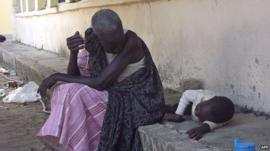 Woman and child at the main hospital in Bor