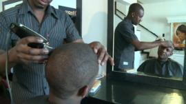 Inside Harare hair salon