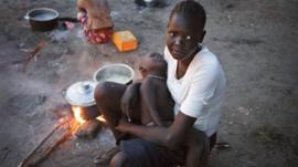 Displaced family in South Sudan
