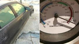 Frozen car in Canada and thermometer in Australia
