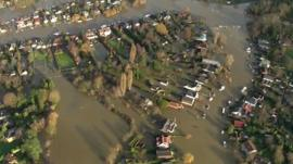 Aerial of Thames flooding