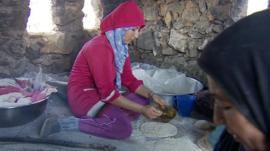 Syrian women working in Wadi Khaled's bakery