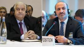 Syrian Foreign Minister Walid Muallem (l) and Syrian National Coalition President Ahmad Jarba