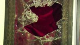 Broken glass at the chapel