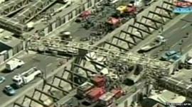 Aftermath of collapsed bridge in Rio de Janeiro