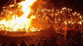 Viking replica on fire