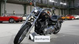 The 1,585 cc Harley Davidson Dyna Super Glide, donated to Pope Francis last year