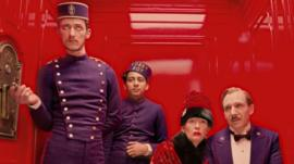 Paul Schlase, Tony Revelori, Tilda Swinton and Ralph Fiennes in The Grand Budapest Hotel