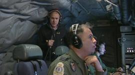 Jonathan Beale inside the RAF Sentinel spy plane