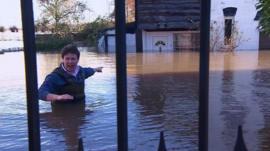Jon Kay in floodwaters in Somerset