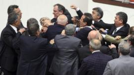 Members of Turkish parliament fighting